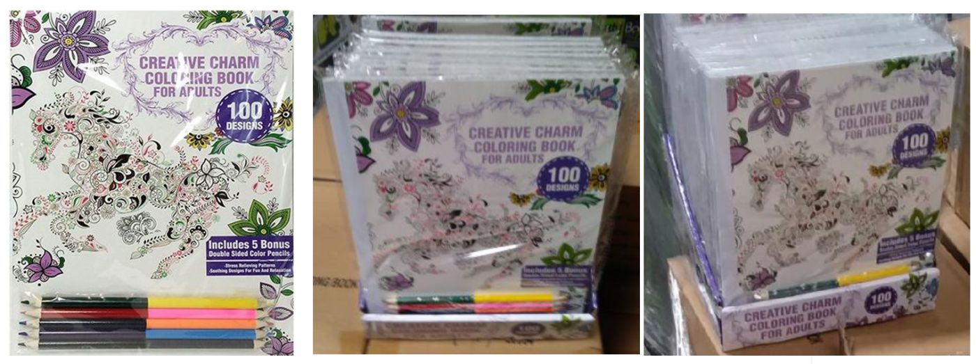 33587 - Creative Charm Coloring Book + 5 Bonus Double Sided Color Pencils USA